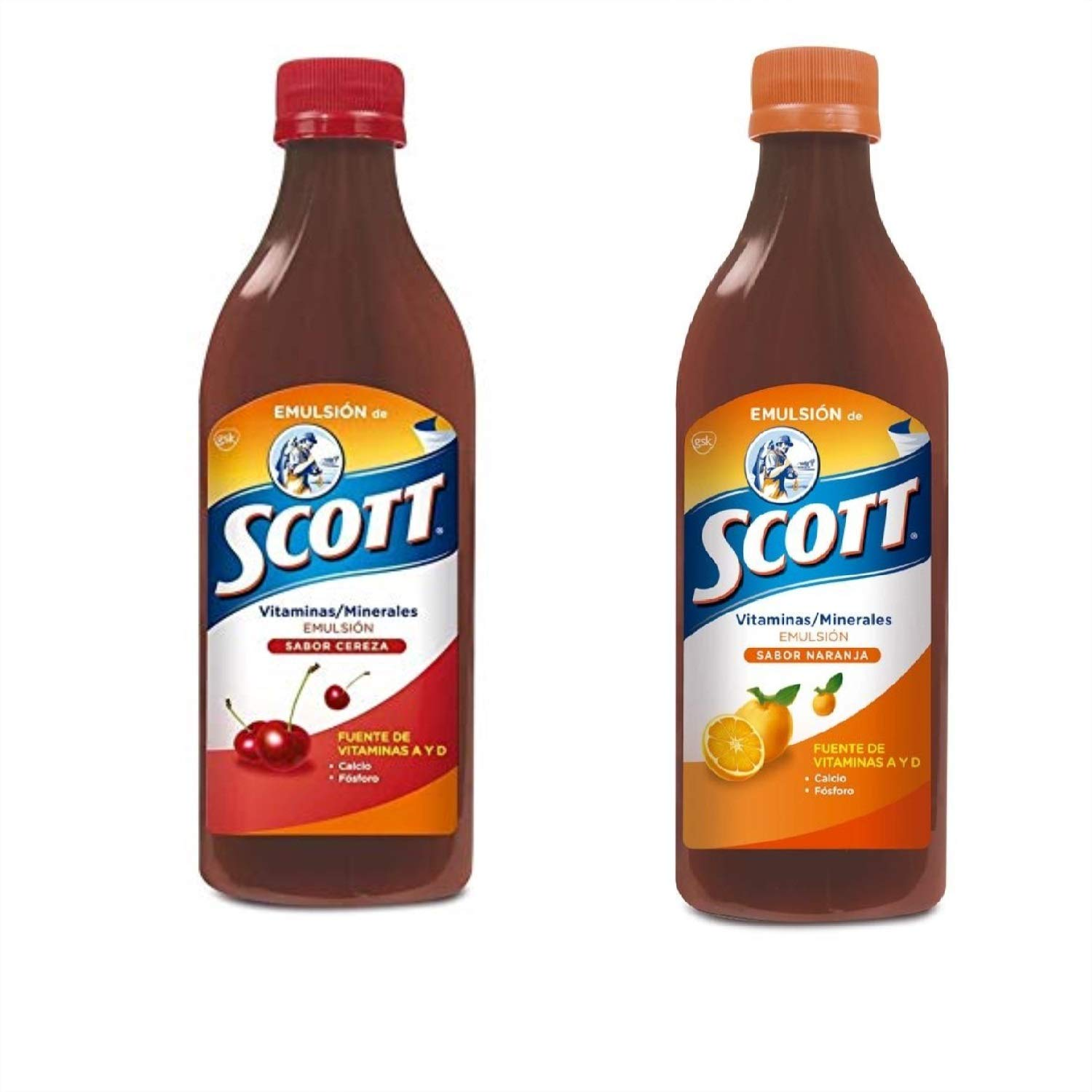 Scott Emulsion Cherry and Orange Flavor. Vitamin Supplement Rich in Cod Liver Oil, Vitamins