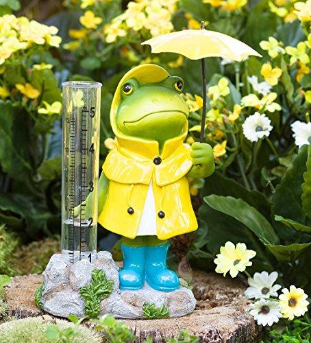 Garden Gear (Plow & Hearth Animal in Rain Gear Decorative Rain Gauge - Outdoor Yard and Garden Statue - 5 L x 3 W x 7 H - Frog)