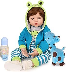 CHAREX Reborn Baby Dolls 18 inch Baby Reborn Boy Dolls Blue Frog Lifelike Real Baby Toddler Dolls