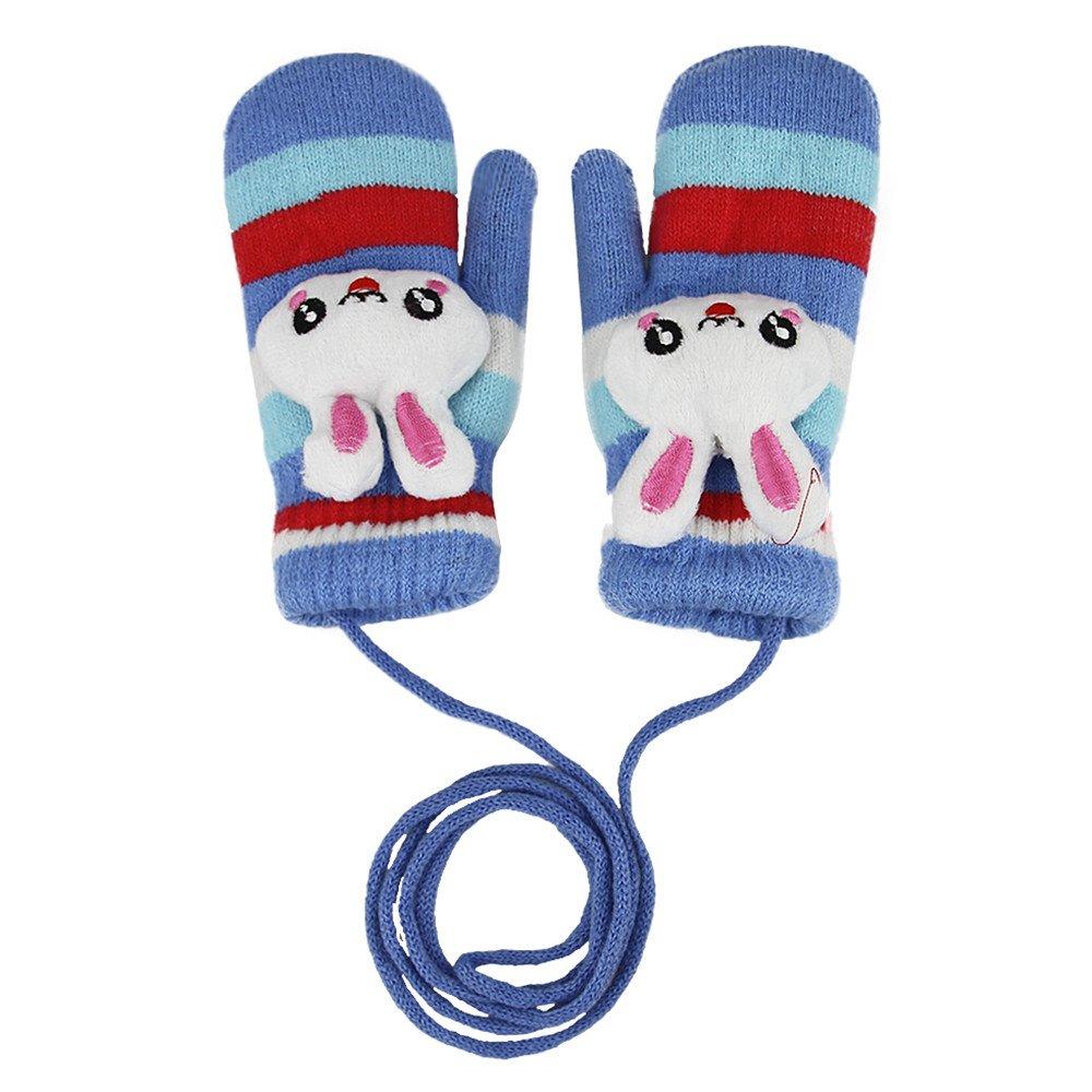 Mädchen Handschuhe Winter Fäustlinge niedliche Strickhandschuhe Fausthandschuhe mit Schnur Handwärmer Weihnachten Geschenk