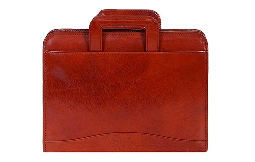 Italian Leather Zip Binder With Drop Handles Color: Cognac