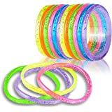 ArtCreativity Liquid Glitter Bracelets - Pack of 12 - 6 Inch Pieces - Assorted Bright Neon Colors - Fashionably Fun…