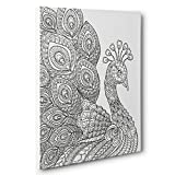 Peacock Art Therapy Coloring Canvas Home Decor