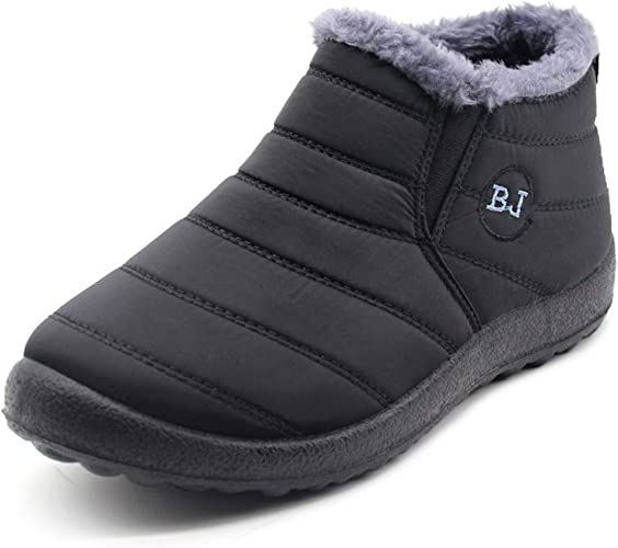 Womens Winter Warm Shoes Snow Boots Fur-Lined Anti-Slip Ankle Boots Waterproof