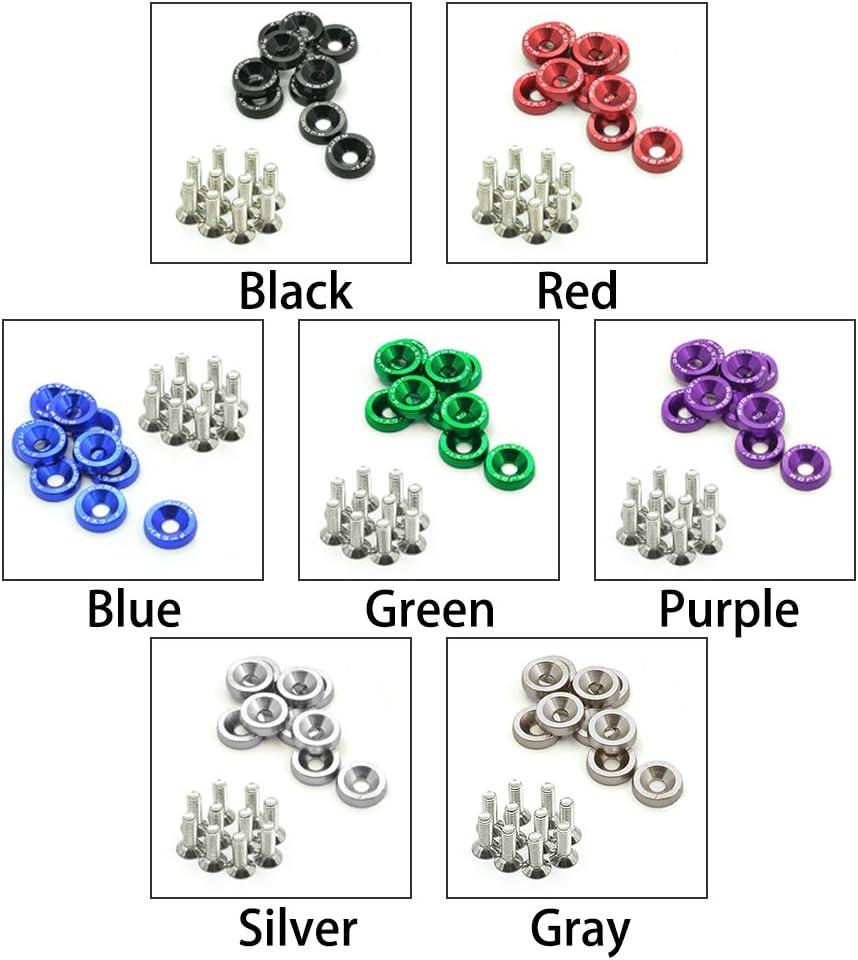 noir Rondelles universelles en aluminium M6x20 Boulons en acier+rondelles anodis/ées noir