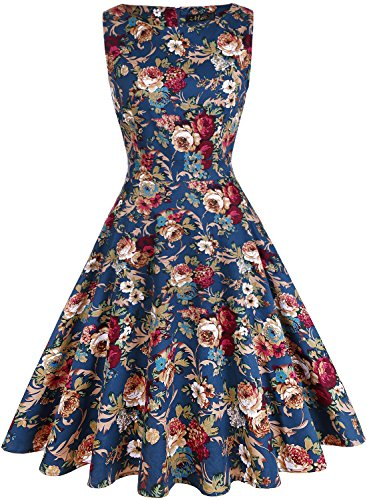 IHOT Women's Vintage Floral Sleeveless Elegant Casual Party Cocktail Wedding Night Dress. Lake Blue Small