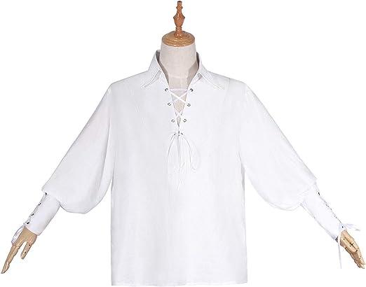 Camisa Medieval Campesino Pirata Cosplay Disfraz Renacimiento Hombre Caballero Top Vendaje Blanco Talla L: Amazon.es: Ropa y accesorios