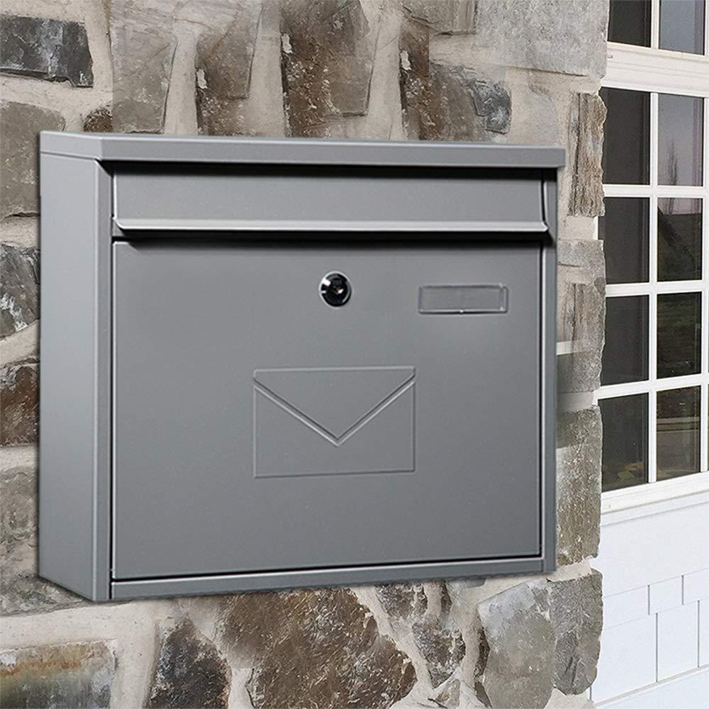 SHYPwM ホームメールボックス屋外防雨クリエイティブ壁掛けレターボックス屋外受信トレイヴィラ郵便ポスト (色 : Gray)  Gray B07Q2WJ5W5