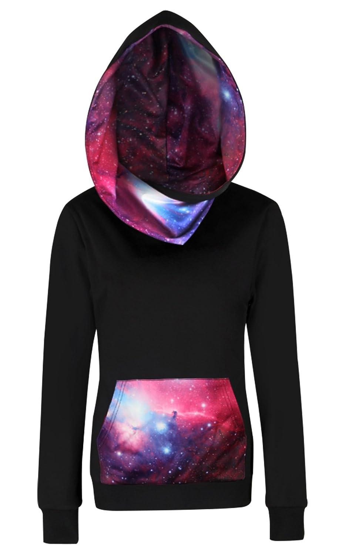 FEOYA Womens Galaxy Hoodie Black Fleece Chic Sweatshirts for Teen Girls with Pockets