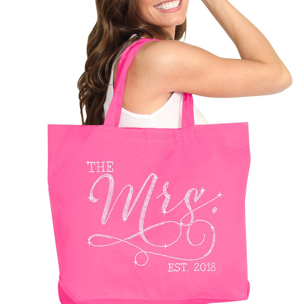 The Mrs. EST 2018 Pink Rhinestone Jumbo Canvas Bridal Tote Bag For the Bride to Be - 18'' X 14'' Tote(Mrs 2018 RS) HPK