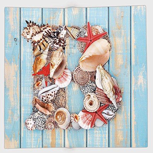 - iPrint Polyester Bandana Headband Scarves Headwrap,Letter B,Alphabet ABC Ocean Theme Elements Starfish Seashell Pale Color,Pale Blue Ivory Dark Coral,for Women Men