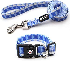 azuza Dog Collar and Leash Set, Fun Patterns, Adjustable Nylon Collar with Matching Leash for Small Medium and Large Dogs
