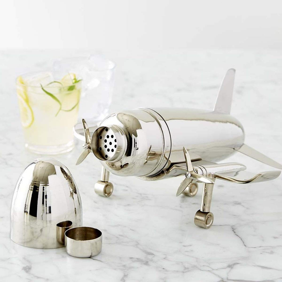 Le'raze Airplane Cocktail Shaker, Premium 24 Ounce Bar Shaker With Stand, Airplane Art Bar Drink Shaker, Aviation Bartender Mixer, Ideal For Flying Bartender, Pilot Gift, Chrome Airplane Decor by Le'raze