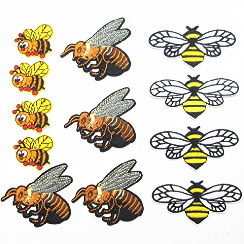 Bee Applique - Dandan DIY 12pcs Assorted Embroidered Bees Patch Sew On/Iron On Patch Animal Applique Clothes Dress Plant Hat Jeans Sewing Applique Home Curtain Diy Accessory