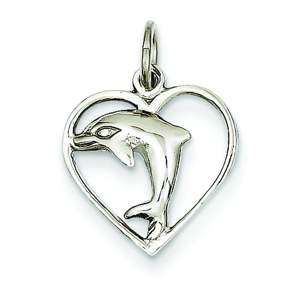 14K White Gold Dolphin Heart Charm Ocean Jewelry