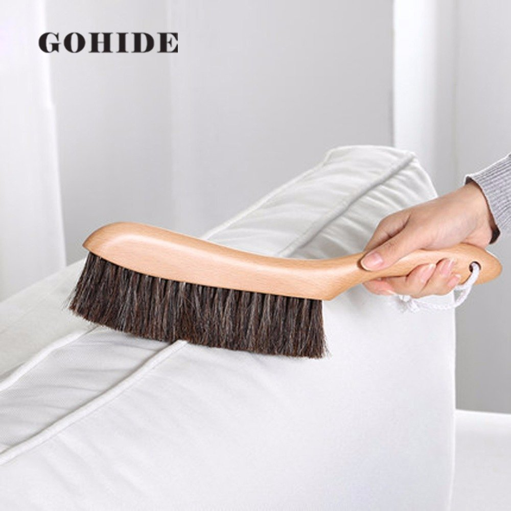 Gohide A Soft Cleaning Brush with Natural Solid Wood Handle and Natural Bristle Brush for Clothes Cleaning, Dust Hair, Sofa, Bed, Bedspread, Carpet Cleaning L:34.5cm, W:8.5cm, H:2.0cm (L) XCX by GOHIDE (Image #2)