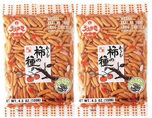 Japanese Traditional Rice Crackers : Nori Maki Arare/ Kaki No Tane 2packs (Kaki No Tane Wasabi)