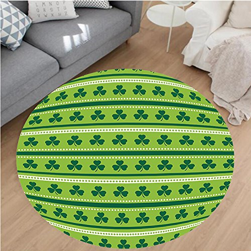 Nalahome Modern Flannel Microfiber Non-Slip Machine Washable Round Area Rug-ional Irish Pattern with Clovers Happy St. Patricks Day Theme Lime Green Dark Green White area rugs Home Decor-Round (Comfort Shag Mint Green Rug)