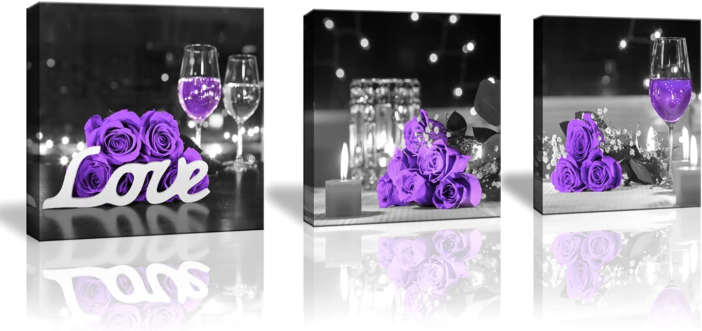 Purple Rose Flower Pictures Wall Art for Kitchen Wine Glass Candle Flower Love Wall Decor Canvas Prints Bedroom Home Artwork for Living Room 3 Pieces/Set Size: 14x14inch