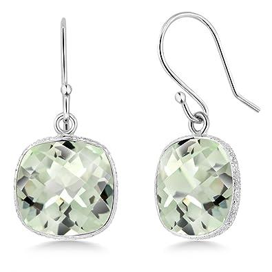 6138ddfc2 Amazon.com: Gem Stone King 12 ctw Sterling Silver Green Amethyst Cushion  Checkerboard Dangle Earrings: Jewelry