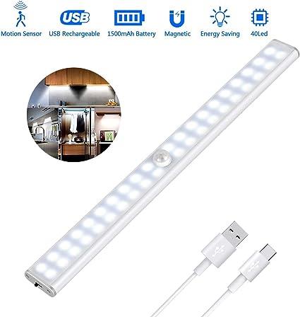 Luz Armario 40 LED, USB Recargable Luces LED Armario con Sensor ...