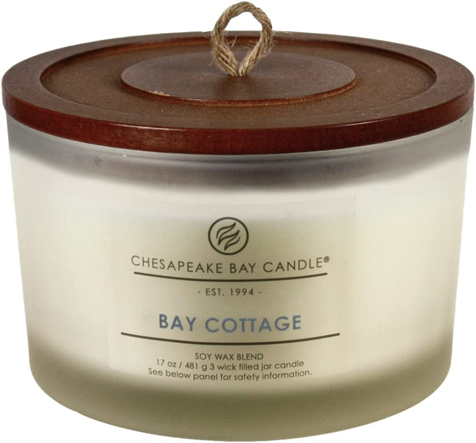 Chesapeake Bay Candle 3-Wick Scented Candle, Bay Cottage (Linen White Amber), Coffee Table Jar