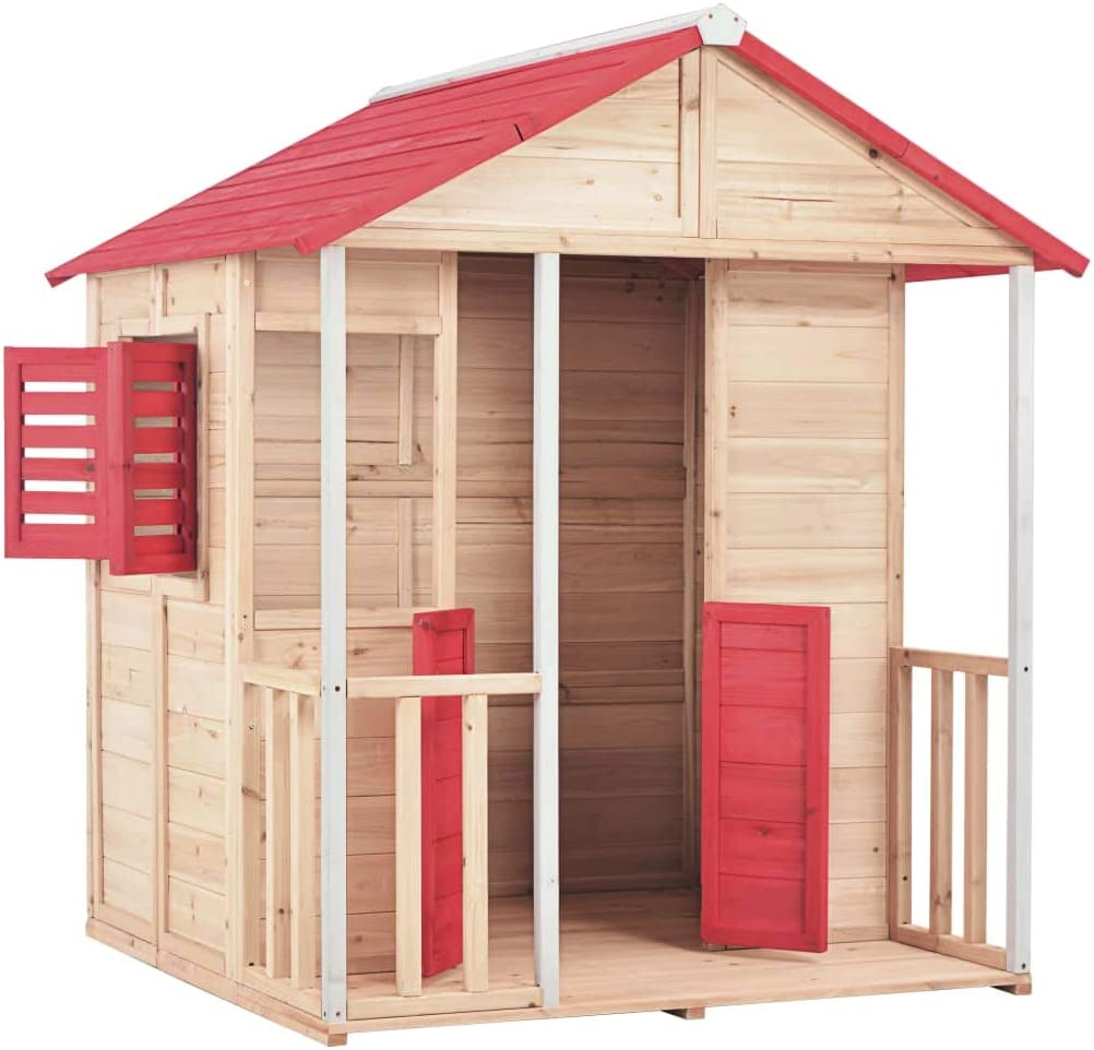 Festnight` Kids Play House Wood Red