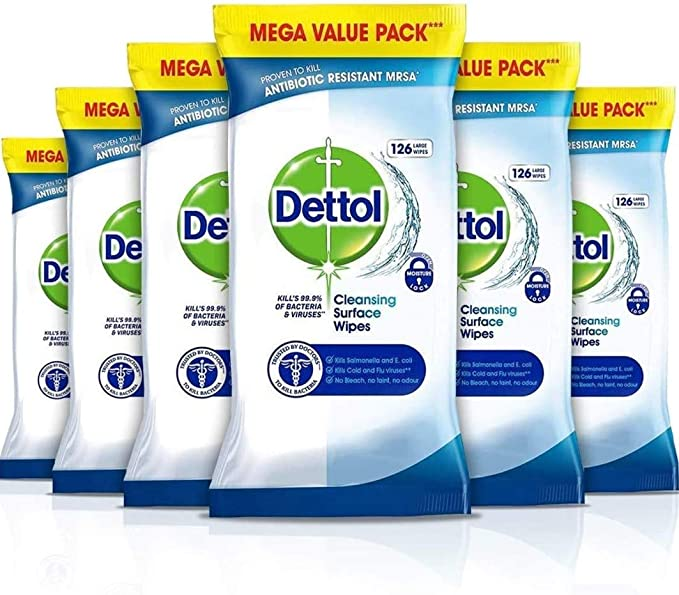 Dettol Wipes Antibacterial Bulk Surface Cleaning, Multipack of 6 x 126, Total 756 Wipes: Amazon.co.uk: Health & Personal Care