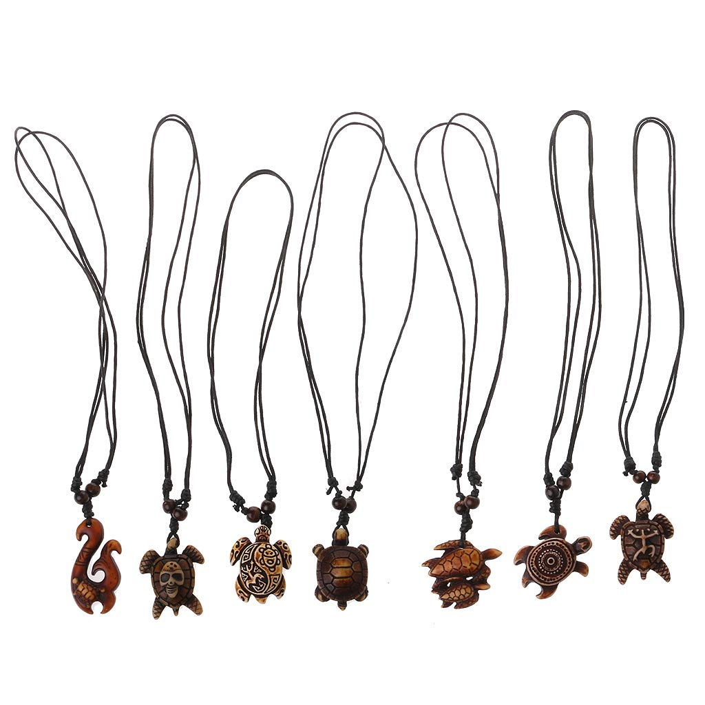 Sarora - 7pcs Ethnic Tribal Faux Yak Bone Lucky Surfing Wood Sea Turtle Pendants Necklace(Multi-Colored)