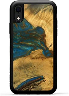 product image for Carved - Wood+Resin Case for iPhone XR - One-of-A-Kind, Protective Traveler Bumper Cover (ID: 115104, Teal & Gold)