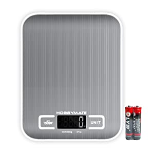 HOBBYMATE Digital Kitchen Scale, for Food Cooking, Baking, Meal Prep, Diet and Weight Loss, 5 Measuring Units Small Scale