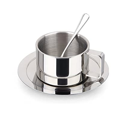 4b8986f87bd Image Unavailable. Image not available for. Color: Bluelasers Stainless  Steel Coffee Cup Set Espresso Cup Cappuccino Cups ...