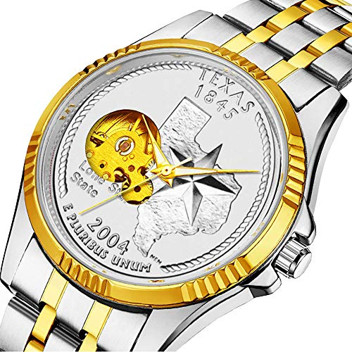 (Casual Men Automatic Mechanical Watch Luxury Brand Casual Sports Watches for Male Personality dial & Clear Window 546.Texas State Quarter)