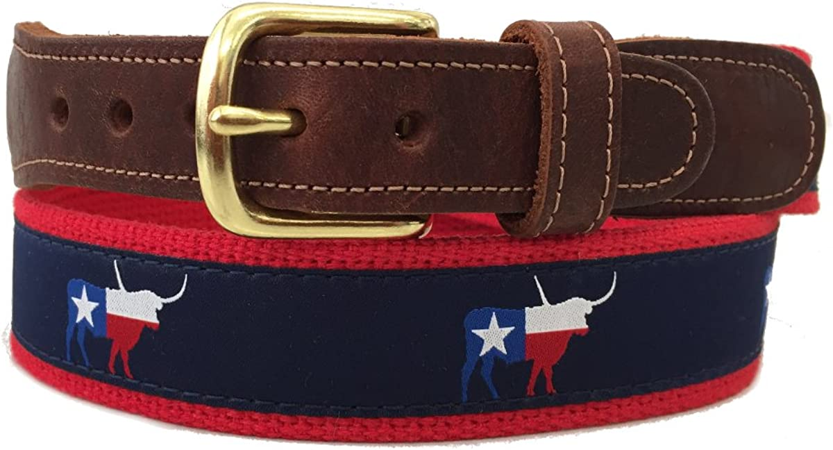 Mens Preston Leather Navy Blue /& Red Texas Flag Longhorn Ribbon Belt
