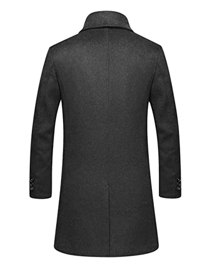448513362a Yeokou Men s Business Casual Slim Single Breasted Long Wool Parka Trench  Coat at Amazon Men s Clothing store