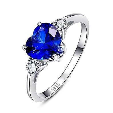 Bonlavie Women's 925 Sterling Silver Blue Sapphire Cubic Zirconia Halo Engagement Wedding Ear Stud Earrings PSnn9Q0bM