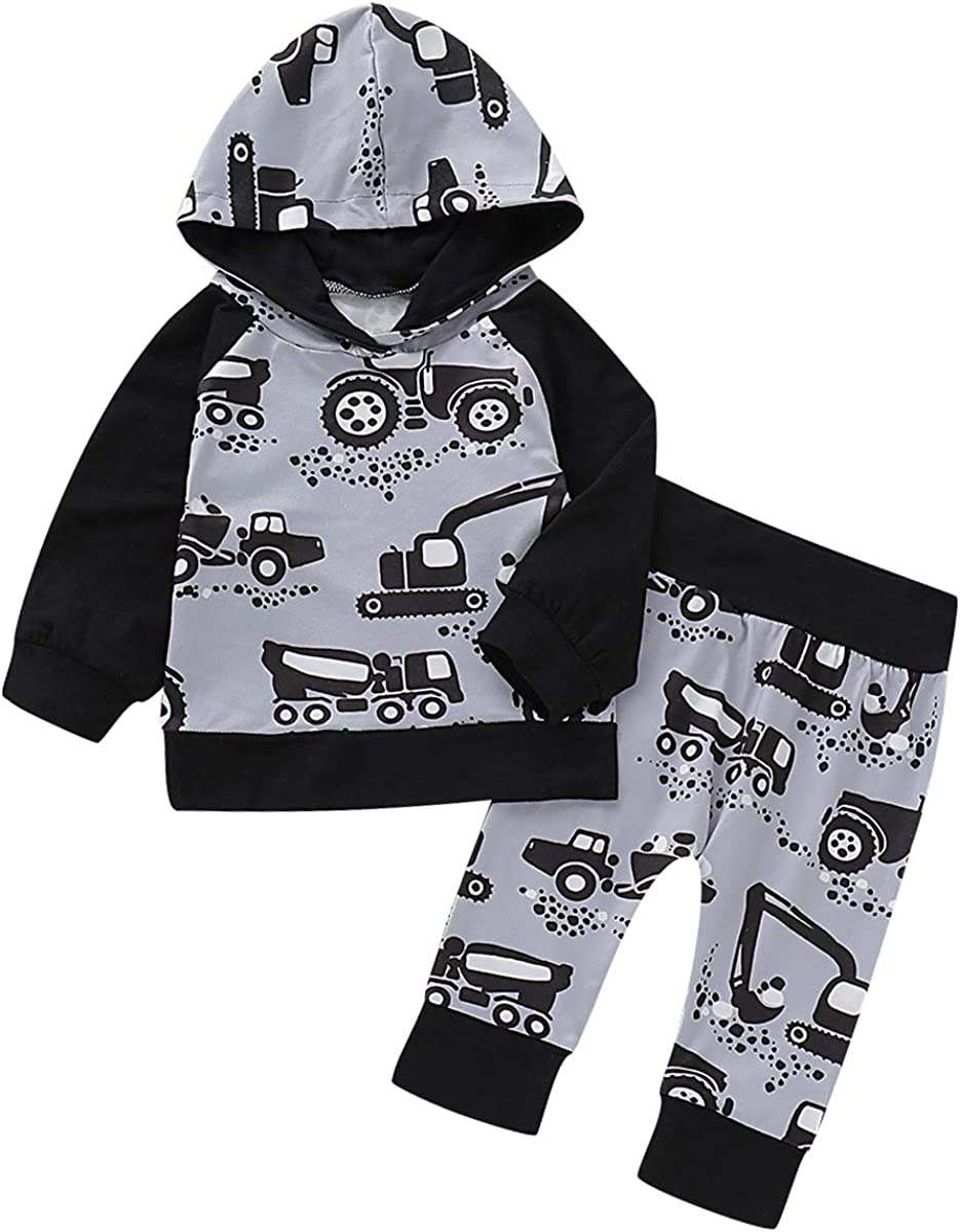 puseky Baby Boys Girls Hoodie Outfits Long Sleeve Shirt Tops Pant 2Pcs Clothes Set