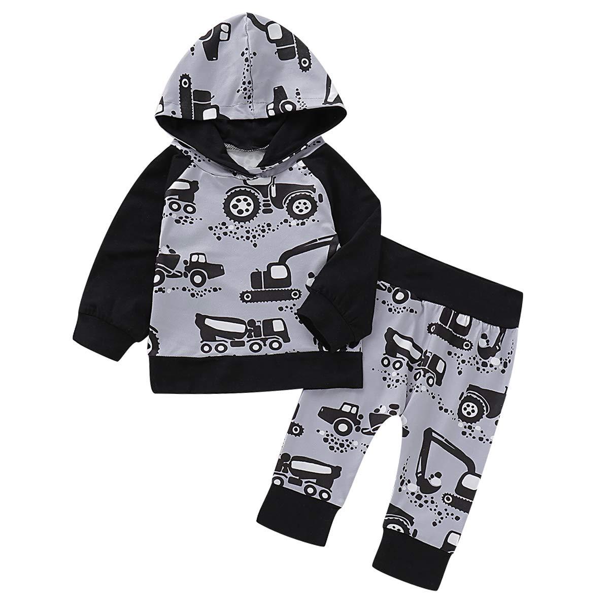 puseky Set di Abbigliamento con Cappuccio Pantaloni con Cappuccio con Stampa Trattore da Bambino 2 Pezzi//Bambino