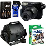 Fujifilm instax 210 Wide-Format Instant Photo Film Camera (Black) + Fujifilm instax Wide Instant Film, Twin Pack (20 sheets) + 4 AA High Capacity Rechargeable Batteries with Battery Charger + Camera Case + HeroFiber Ultra Gentle Cleaning Cloth