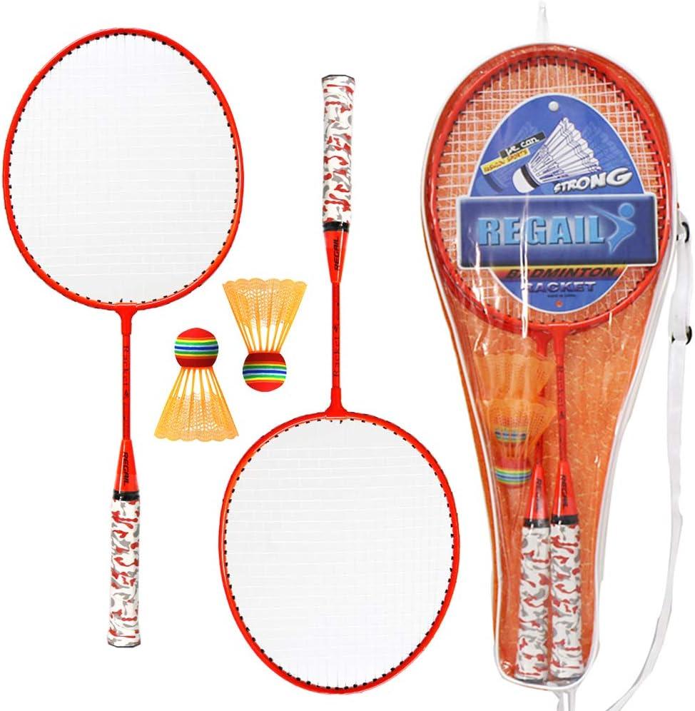 Lixada 1 Paire de Raquettes de Badminton avec Balles Set de Badminton 2 Joueurs Ensemble dEntra/înement de Badminton pour Les Enfants Jeu de Sports de Plein Air en Plein Air Entra/înement au Badminton