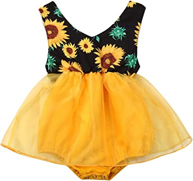 Carolilly Vestido Niña 0-18 Meses Mameluco Falda para Bebé Recién Nacido Mono de Tul Estampado Floral Girasol sin Mangas para Bebés Niñas: Amazon.es: Ropa y accesorios