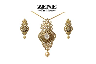 Buy antique gold pendant set with white stones online at low prices antique gold pendant set with white stones aloadofball Images