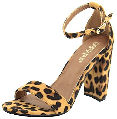 26078645607 Bella Marie Women s Strappy Block High Heel Sandal (6 B(M) US