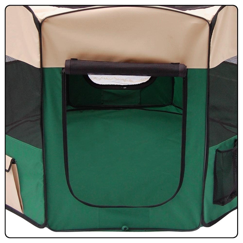 Pet Playpen 2 Door Exercise Kennel Soft Tent Puppy Dog Crate - 3 Sizes and 4 Colors! (Green, Medium)