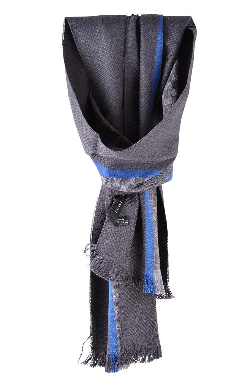 Gucci Schal Grau Wolle Seide 194 cm x 37 cm