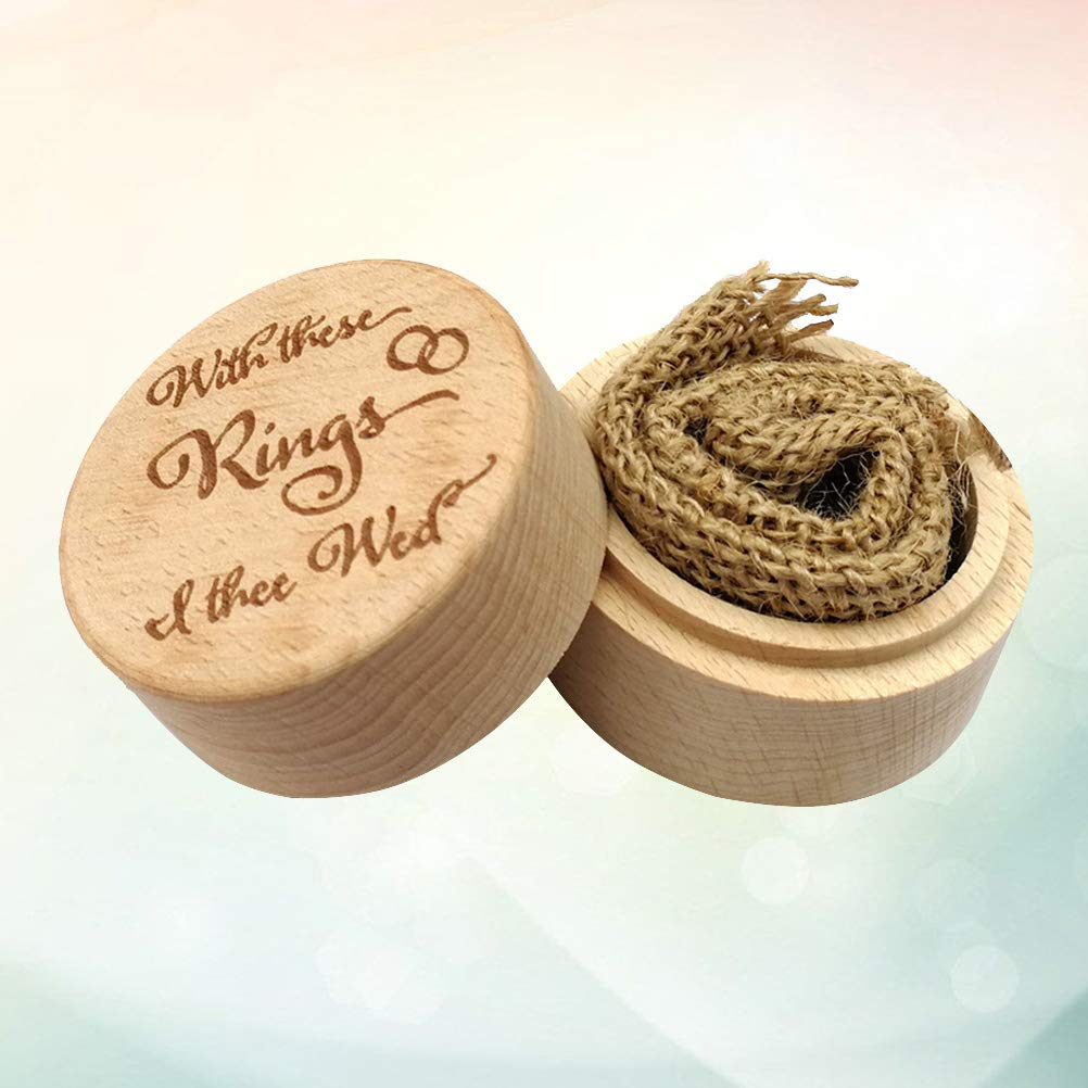 Caja de anillo de madera redonda de Amosfun, soporte de ...
