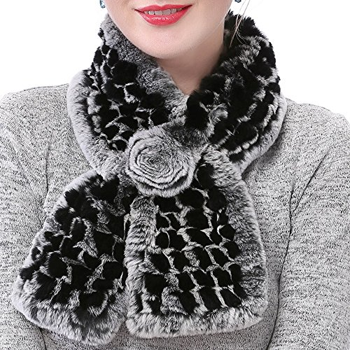 (Valpeak Women's Real Rabbit Fur knitted Winter Warm Neck Wrap Scarf Rose Design (Black))
