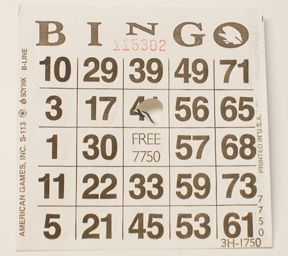 1 on Pushout Bingo Paper Cards - Blue - 250 Cards American Games