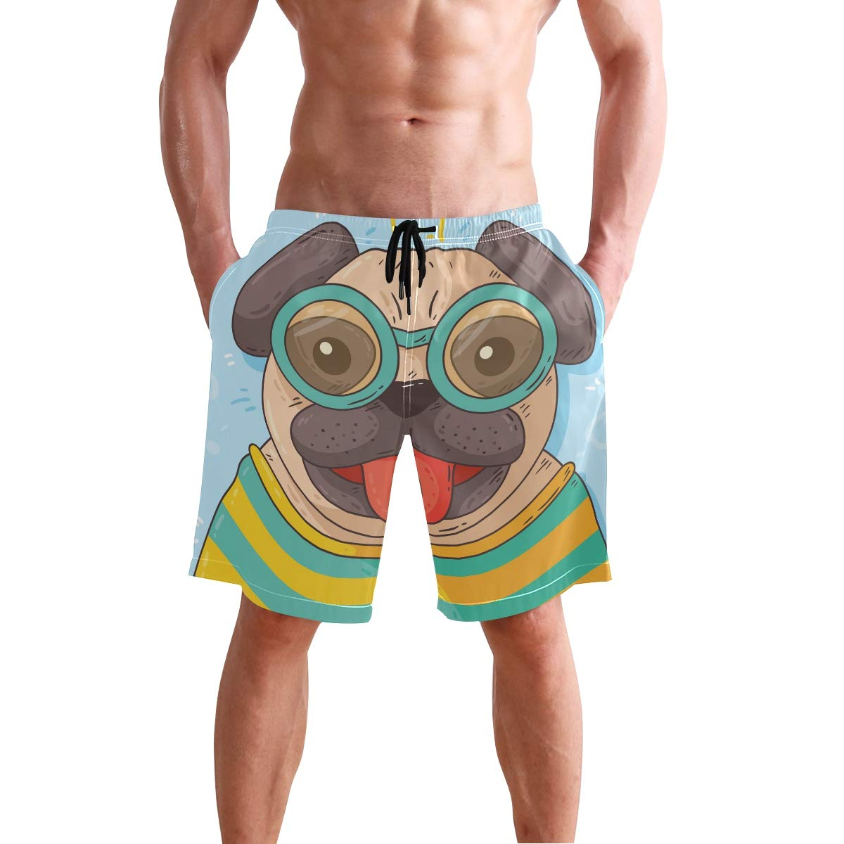 Men/'s Swim Trunks Beach Board Swimwear Shorts Stripe Dog Swimming Short Pants Quick Dry Water Shorts Mesh Lining