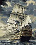 CaptainCrafts New Paint by Number Kits - Boats Sailboat Warships 16x20 inch- Diy Painting by Numbers for Adults Beginner Kids (Frameless)